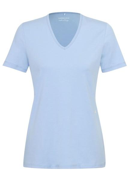 Shirt Kurzarm V-Ausschnitt hellblau Detail