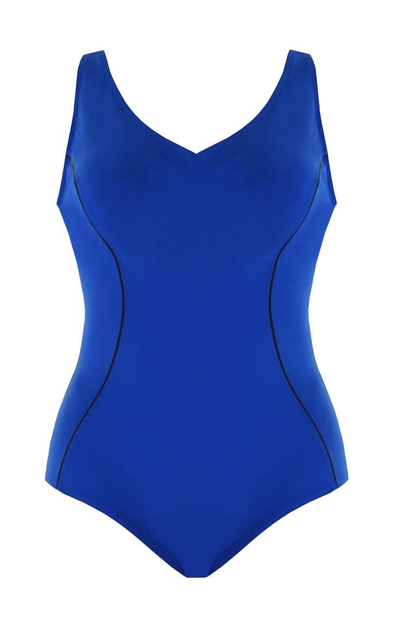 Bademode - Badeanzug mit Unterbrustband Revolutional – blau  - Onlineshop Miracle Woman