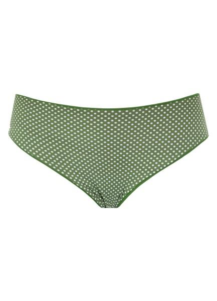 Bikini Set dunkelgrün weiß Barbados Green Dotty Detail vorne