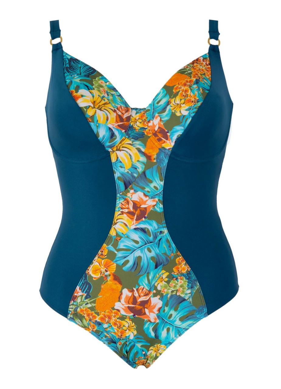 Bademode - Minimizer Badeanzug mit Bügeln Lush – ocean multicolor  - Onlineshop Miracle Woman