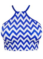 Bikini Top kobaltblau weiß Longline Making Waves